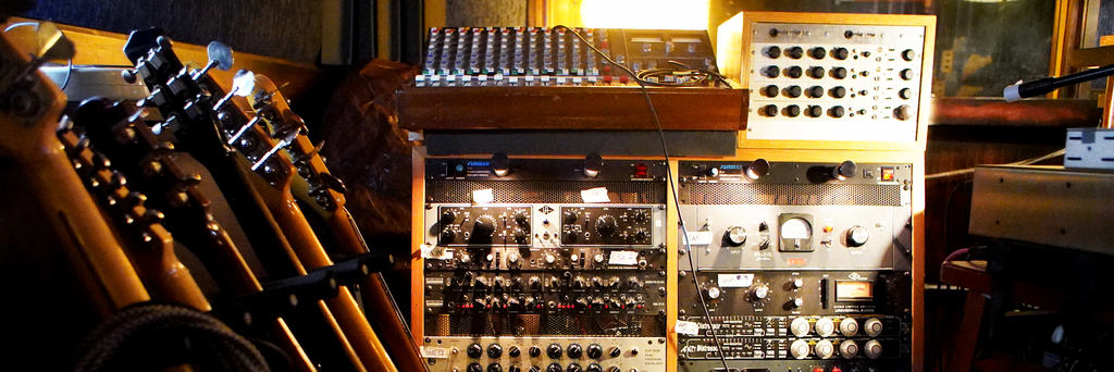 The impressive outboard gear collection in Stellar Sound studios.